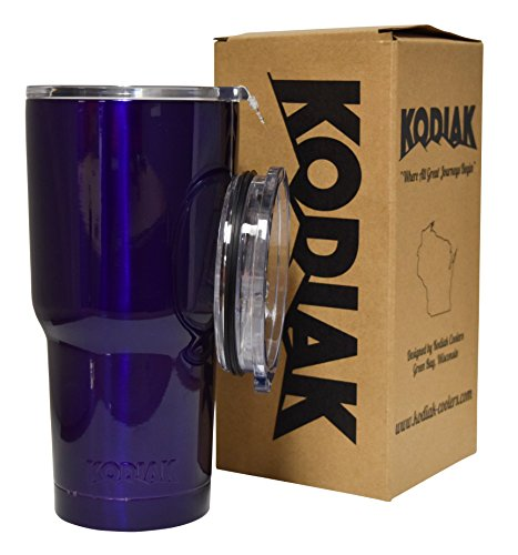 Kodiak Coolers Vacuum Insulated Tumbler Two Lids - Stainless Steel Double Wall - Thermal Coffee Travel Cup Mug Thermos – Compare to Rtic - Hold Ice Over 24 Hour (Purple, 30 oz)