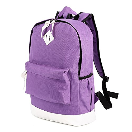 Anladia Vintage Men's Canvas Backpack Rucksack Laptop School Shoulder Travel Camping Bag (Purple White)