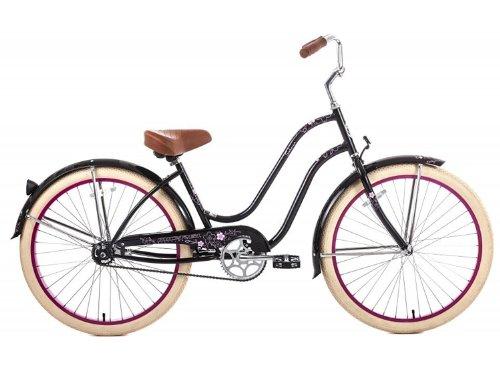 Steel Frame, Micargi Sakura 1-speed (Black/pink) Women's 26 Beach Cruiser Bike by Micargi B00B479P6S