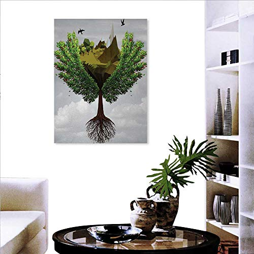 familytaste Nature Art Stickers Fractal Tree Figure on The Sky with Dimensional Rocky Cliffs and Birds Nature Print Ready to Hang for Home Decorations Wall Decor 20