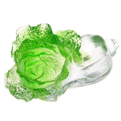 H & D Фэн-шуй Кристалл Liuli глазированное Art Glass китайская капуста символ удачи