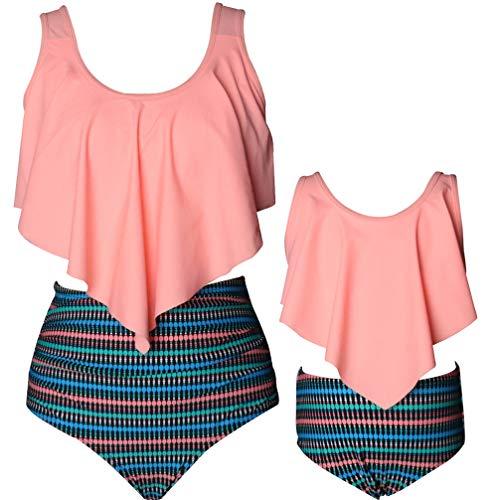 pjsonesie Girls Swimsuit Two Pieces Bikini Set Ruffle Falbala Swimwear Bathing Suits (Orange Ruffled, Mom Large)