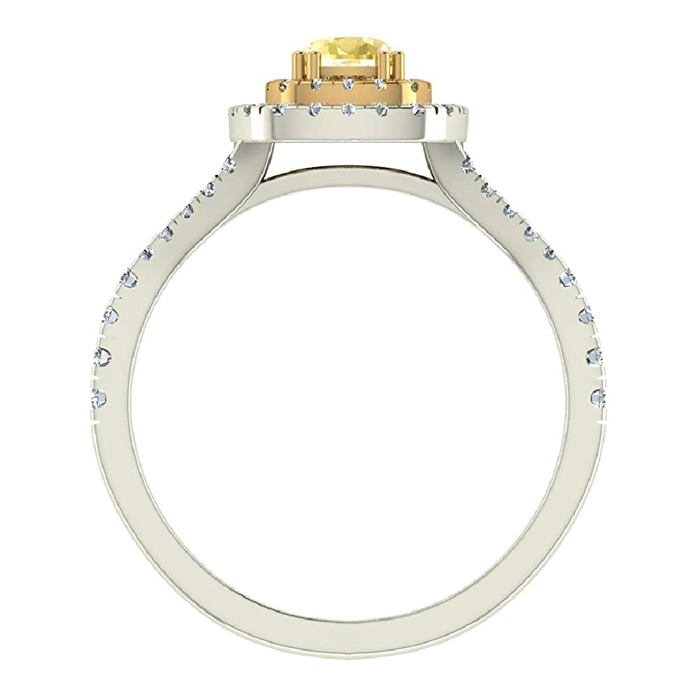 Amazon.com: Oro 18 K Fancy Amarillo Cojín Diamante de corte ...