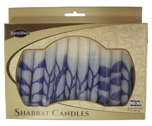 Majestic Giftware SC-SHTR-B Safed Shabbat Candle, 5-Inch, Tree Blue, 12-Pack (Candles Shabbat Safed 12)