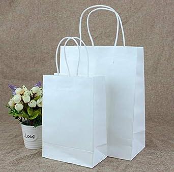 10 bolsas de papel kraft blanco con asas, fiestas de ...
