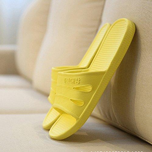 Beautylife88 Unisexe Pantoufles De Plancher Intérieur Anti-dérapant Chaussures De Maison Pantoufle De Bain Jaune