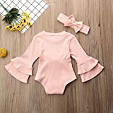Toddler Baby Girl Basic Ruffle Solide Long Sleeve