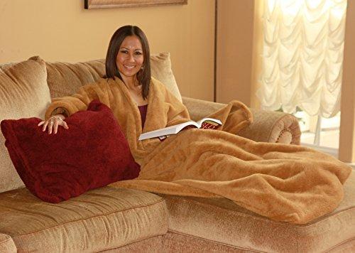 Ultra Cuddle - Shawl Blanket with Feet Pockets/Super Plush-Caramel