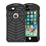 iPhone 7 100% Waterproof Case, Eonfine Full-sealed Rubber Rugged Spider Case with Clear Sound Protective Hard Cover IP68 Certificated with Touch ID Newest Spidecase for iPhone 7 4.7'' Black