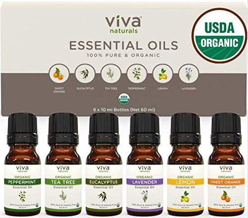 Aromatherapy Essential Oils - Essential Oil Pack with 100% Pure Relaxing Essential Oils: Lavender, Lemon, Sweet Orange, Tea Tree, Eucalyptus & Peppermint, Certified Organic, Set 6x10ml