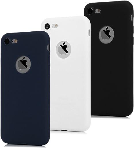 2x Cover iPhone 7 Silicone Morbido TPU Flessibile Gomma Opaco