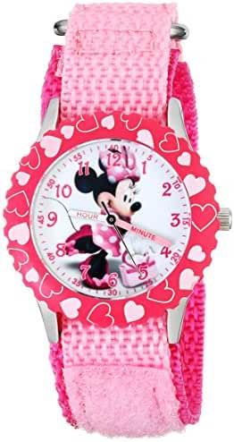 Disney Kids' W001576 Minnie Mouse Stainless Steel Time Teacher Watch, Pink Nylon Band