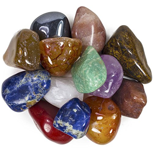 2 Pounds Brazilian Tumbled Polished Natural Stones Assorted Mix - Extra Large Size - 1.5