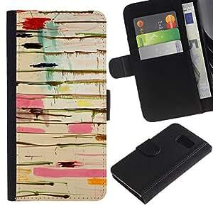 EuroTech - Samsung Galaxy S6 SM-G920 - Abstract Paint Drip Art Pollock Lines - Cuero PU Delgado caso Billetera cubierta Shell Armor Funda Case Cover Wallet Credit Card