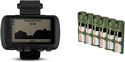 Garmin 010-01772-00 Foretrex 601, 2 inches Storacell by Powerpax Slimline AAA Battery Caddy, Military Green, Holds 6 Batteries