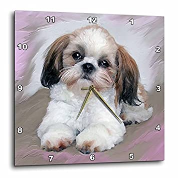 3dRose LLC DPP_4807_3 Wall Clock, 15 by 15-Inch, Shih Tzu Puppy