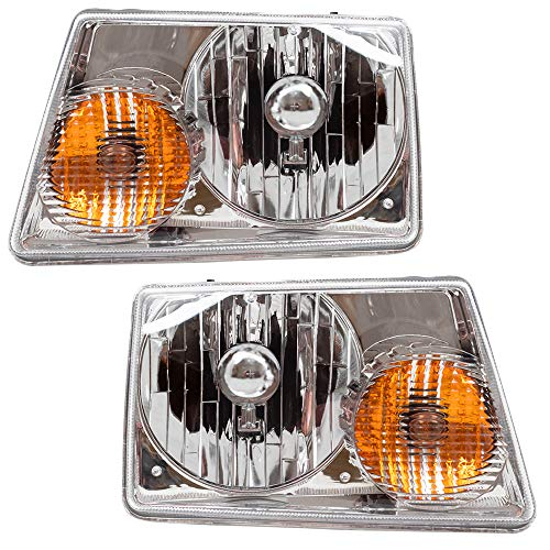 Driver and Passenger Headlights Headlamps Replacement for Ford Pickup Truck 6L5Z13008BA ()