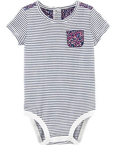 Osh Kosh Baby Girls Bodysuits, Floral Pockets, 12 Months