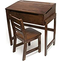 Lipper International 564WN Childs Slanted Top Desk & Chair, Walnut Finish