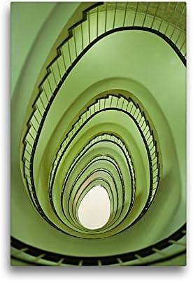 CALVENDO Lienzo Premium de 30 cm x 45 cm de Alto, diseño de Huevo de Pascua en Escalera Imagen de Pared sobre Bastidor, Listo en Lienzo auténtico, impresión en Lienzo Orte Lugares