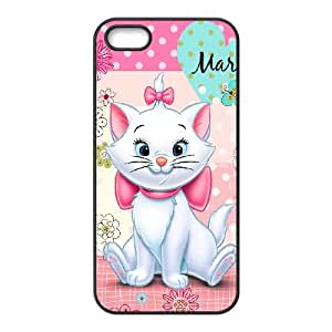 funda iPhone del gato de Marie E3X84F3TS caso 5 5s funda IFM82F negro