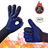 oven and grill gloves - Awekris BBQ Grilling Cooking Gloves, 932℉ Extreme Heat Resistant Gloves, Grill Oven Safety Mitts - 1 Pair 14 inch Long for Extra Forearm Protection
