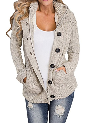 Enjoybuy Khaki Womens Cable Knit Hooded Sweater Cardigan Buttons Open Front Outerwear by (Knit Sweater Cable Hooded)