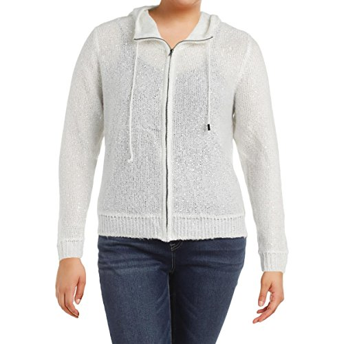 Anne Klein Womens Sequined Knit Zip-Front Hoodie White ()