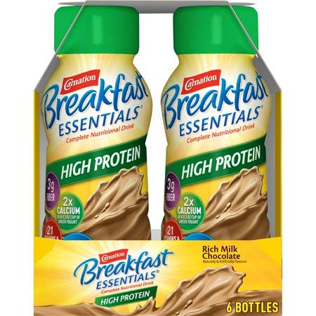 Amazon.com : Carnation Breakfast Essentials High Protein Ready-to-Drink, Rich Milk Chocolate, 8 fl oz Bottle, 6 Count - Set of 5 : Grocery & Gourmet Food