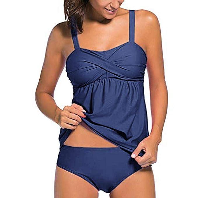 Damen Tank Tops High Waist Bademode Bikini Set Gepolstert Badeanzug Schwimmanzug