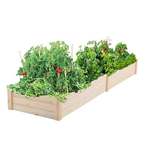 Pataku Patio Wooden Raised Garden Bed Kit for Backyard,Patio Planting Bed 96 inches x 24 inches x10 inches (Raised Designs Patio)