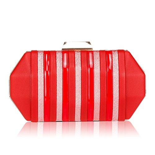 Clutch Women's Rhinestone Chain WALLYN'S Bag Strap With Red Hard Box Purse Evening R0x7drR
