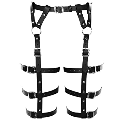 774bab989b9 Image Unavailable. Image not available for. Color  BANSSGOTH Body Leather  Harness Garter Belt for Men Women Leg Stockings Dance