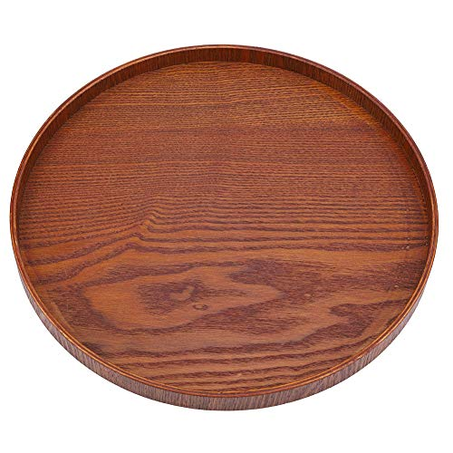 Wood Serving Tray Round Natural Wooden Plate Tea Food Server Dishes Water Drink Platter(11.81 inch) Brown Round Serving Plate