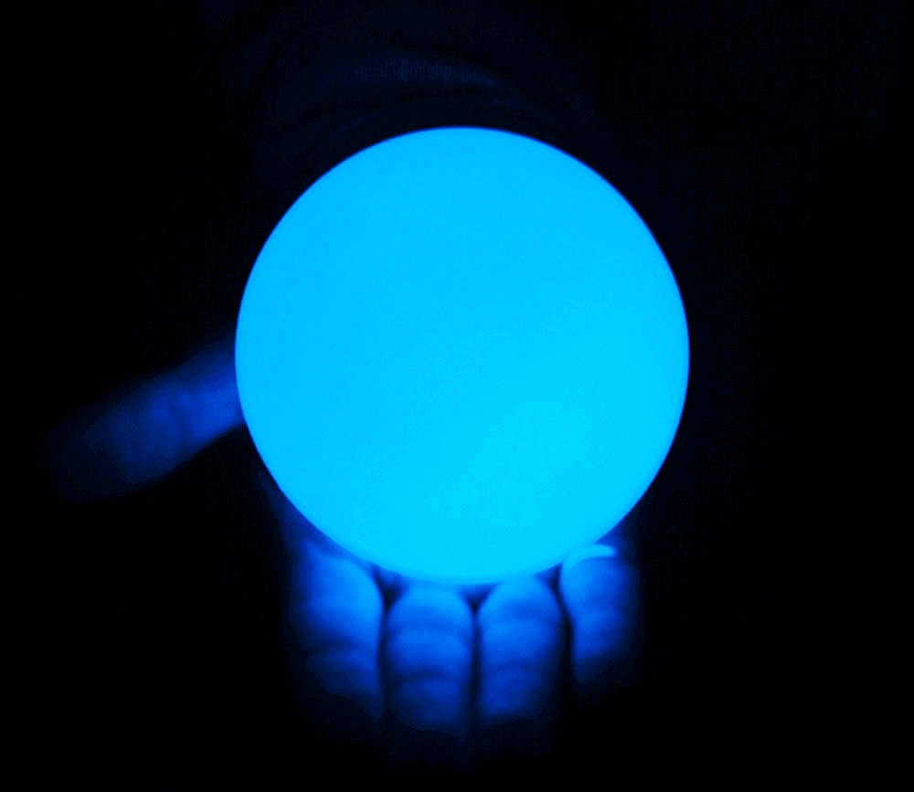 DSJUGGLING Clear UV Acrylic Contact Juggling Ball - 76mm (Appx. 3 inch) Glowing Blue Color Under The UV Light by DSJUGGLING
