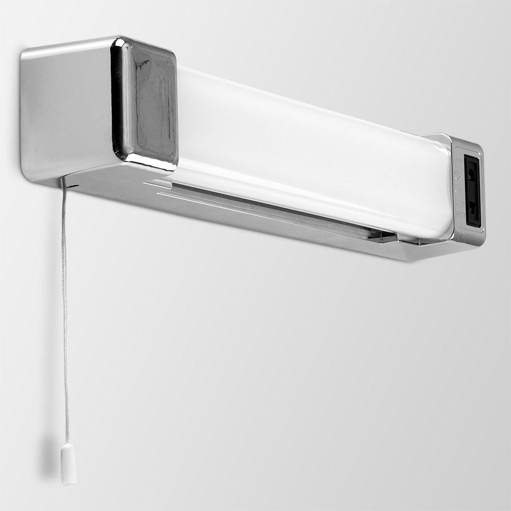 Modern Silver Chrome Effect 5w LED Bathroom Wall Light with Shaver Socket... eBay