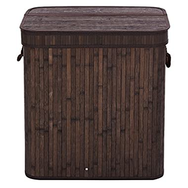 SONGMICS Folding Laundry Basket With Lid Bamboo Hampers Dirty Clothes Storage Rectangular Dark Brown ULCB63K
