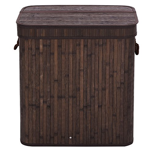 SONGMICS Bamboo Laundry Hamper Clothes Storage Basket With Lid and Liner, Rectangular Dark Brown ULCB63B