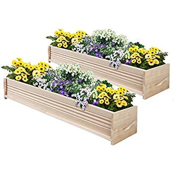 Marvelous Greenes Fence Cedar Patio Planter Box, 48 Inch, 2 Planters