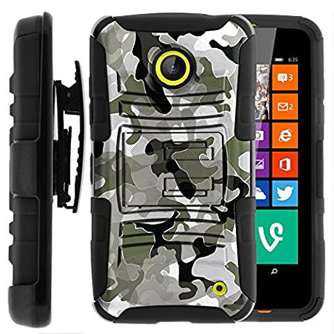 Nokia Lumia 635 Case, Nokia Lumia 630 Case, Two Layer Hybrid Armor Hard Cover with Built in Kickstand and Holster Belt Clip for Nokia Lumia 635, 630 (AT&T, Sprint, T Mobile, Cricket, Virgin Mobile, Boost Mobile, MetroPCS) from MINITURTLE | Includes Screen Protector - Swamp (Nokia Lumia 635 Cases For Guys)