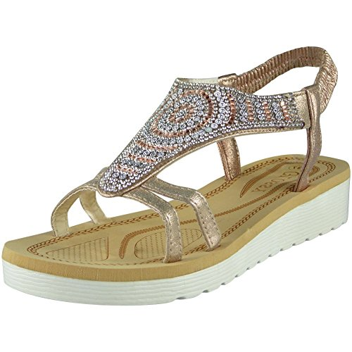 Womens Ladies Diamante Low Wedge Comfy Strap Summer Peeptoe Sandals Shoes Sizes 3-8 Champagne