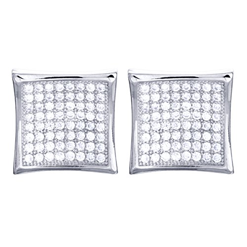 12 mm XL Men's Fashion Iced Silver Plated Caved Square Screw Back Stud Earrings SE 4776 S (Block Earrings For Men)