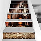 Stair Stickers Wall Stickers,6 PCS Self-adhesive,Western,Cowboy Gear White Hat Boots Rifle Gun Vintage Barn Kerosene Oil Lantern,Dark Brown and Beige,Stair Riser Decal for Living Room, Hall, Kids Room