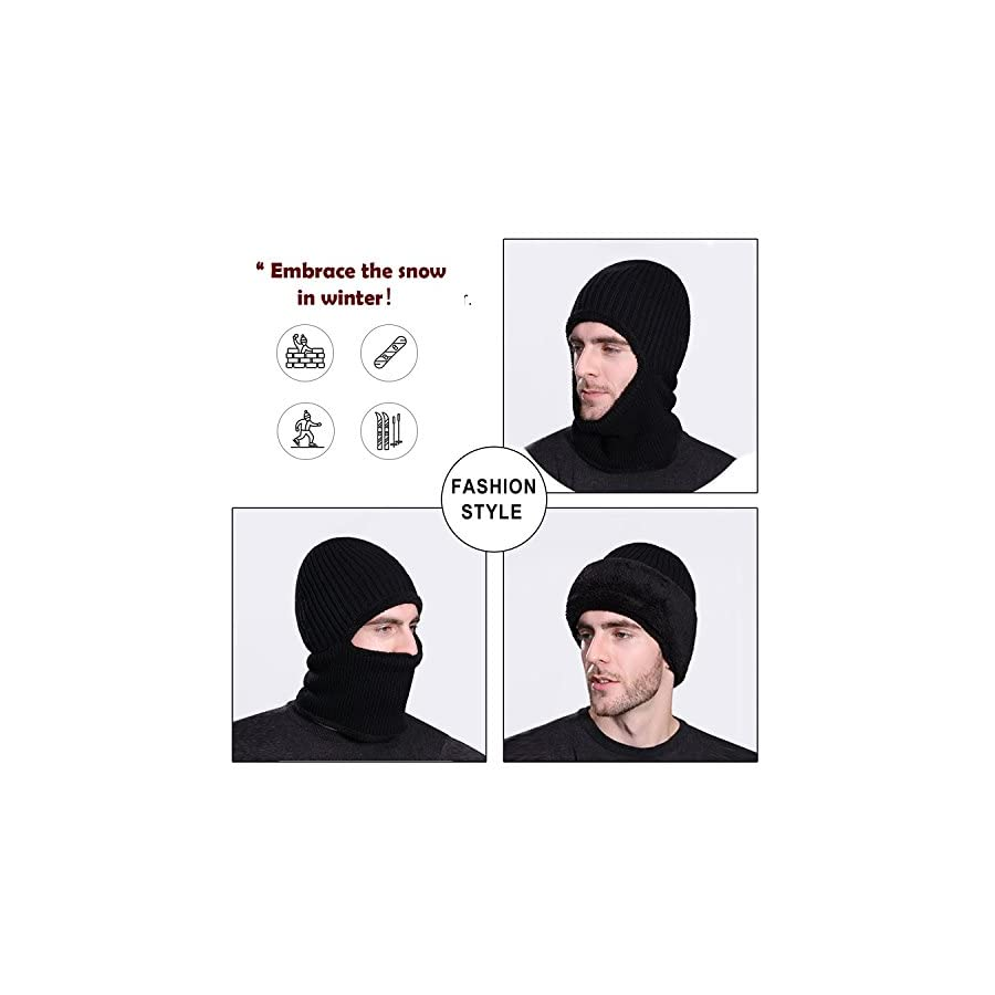 Mocofo Kint Winter Hats, 3 in 1 Cold Weather Beanie with Flexible Neck Guard, Riding Hat for Outdoor Sports Cycling Motorcycle Ski