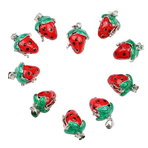 - Sdootjewelry 10 Pcs Dangle Charm Beads Strawberry Shaped Charm Beads Pendants Beads with Shackle for Making Necklace Bracelet Earrings15mm x 12mm