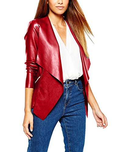 Eliacher Women's Slim Tailoring Faux Leather PU Short Jacket Coat (M, Wine)