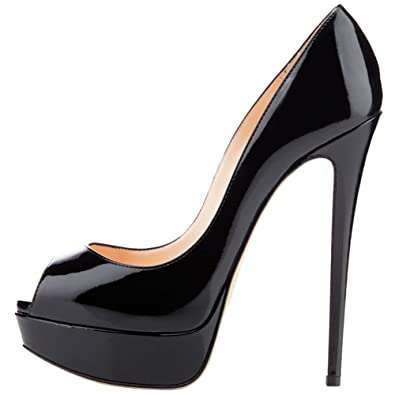 c0c527feb6 MERUMOTE Women's Aahe Stiletto Heel Platform Peep Toe Black Patent Leather  Dress Pumps - 5.5 B