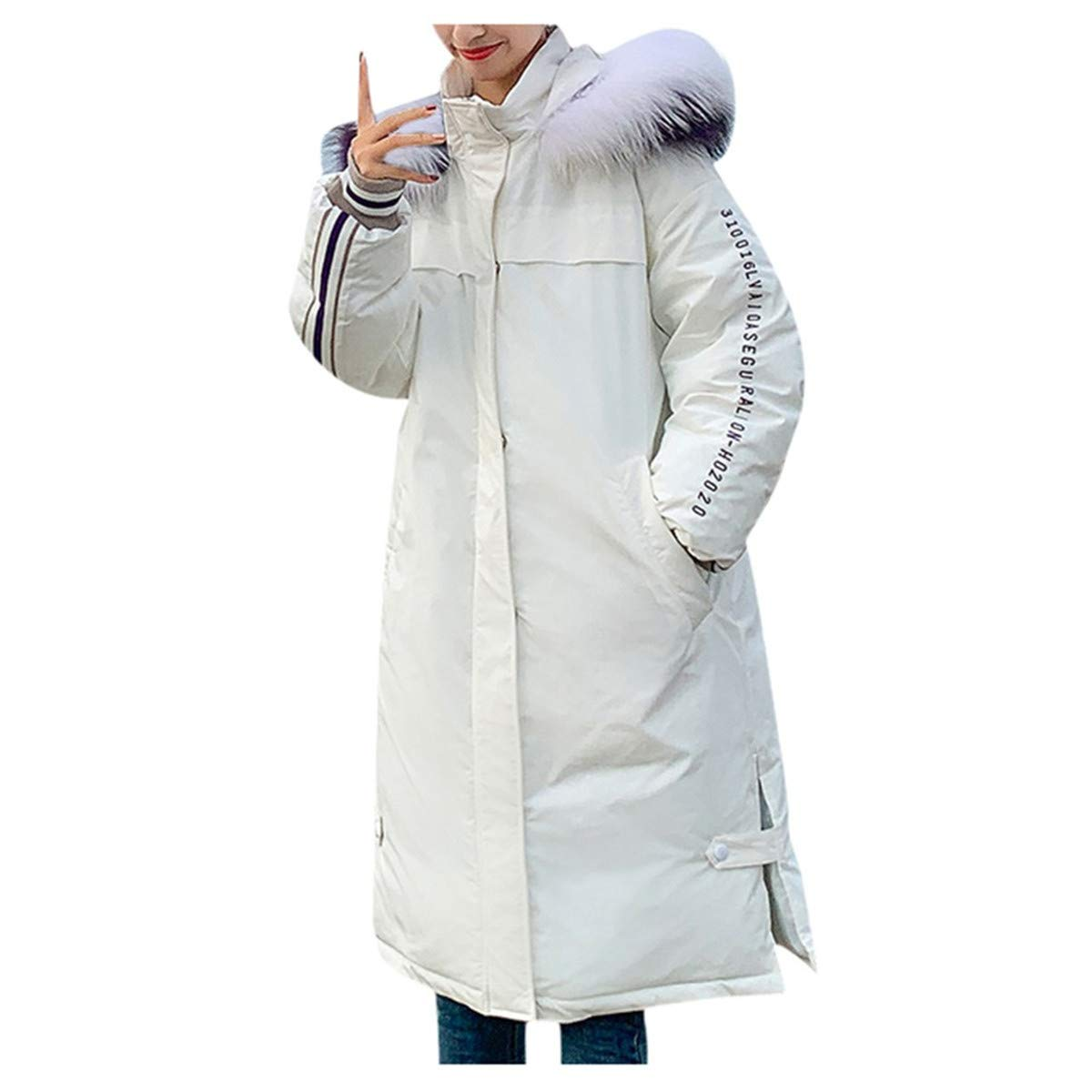 Thenxin Women Teen Girl Winter Hooded Parka Puffer Coats Oversized Jacket with Letter Embroidery(White,M) by Thenxin