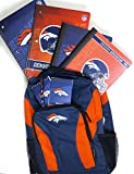 Denver Broncos back to school backpack includes two spiral notebooks to composition books to memo pads and I retract bullpen.