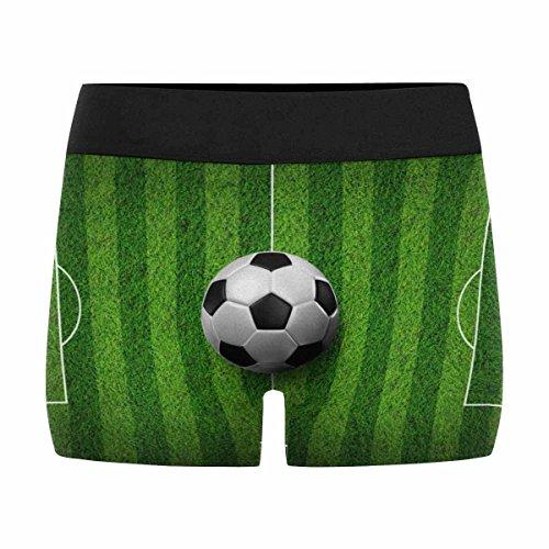 InterestPrint Men's All-Over Print Boxer Briefs Soccer Football on Grass Field (Print Soccer Boxers)